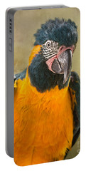 Blue Throated Macaw Portrait Portable Battery Charger by Jamie Pham