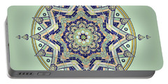 Portable Battery Charger featuring the drawing Blue Tile Star Mandala by Deborah Smith
