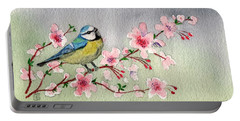Blue Tit Bird On Cherry Blossom Tree Portable Battery Charger