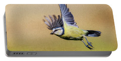 Blue Tit In Flight Portable Battery Charger