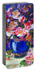 Blue Vase And Fresh Flowers Portable Battery Charger