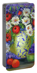 Blue Vase Flowers Portable Battery Charger