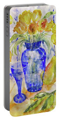 Portable Battery Charger featuring the painting Blue Vase by Jasna Dragun