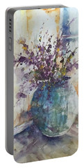 Blue Vase Of Lavender And Wildflowers Aka Vase Bleu Lavande Et Wildflowers  Portable Battery Charger