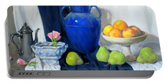 Blue Vase, Peaches, Pears, Lisianthus, Silver Coffeepot Portable Battery Charger
