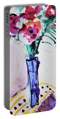 Blue Vase With Red Wild Flowers Portable Battery Charger by Amara Dacer