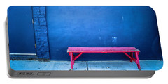 Blue Wall Pink Bench Portable Battery Charger