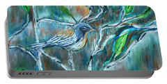 Blue Warbler In Birch Portable Battery Charger