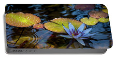Blue Water Lily Pond Portable Battery Charger