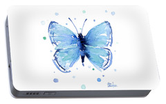 Blue Watercolor Butterfly Portable Battery Charger by Olga Shvartsur