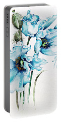 Portable Battery Charger featuring the painting Blue Wind by Anna Ewa Miarczynska