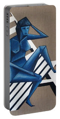Blue Woman Portable Battery Charger