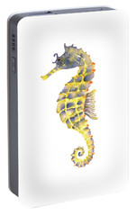Blue Yellow Seahorse - Vertical Portable Battery Charger by Amy Kirkpatrick