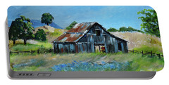 Portable Battery Charger featuring the painting Bluebell Barn - Rustic Bar - Bluebellsn by Jan Dappen