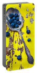 Blueberries In Silver Spoon Portable Battery Charger by Garry Gay
