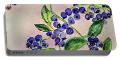 Blueberries Portable Battery Charger by Kim Nelson