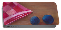 Portable Battery Charger featuring the painting Blueberries With Red Napkin by Patricia Cleasby