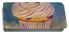 Portable Battery Charger featuring the painting Blueberry Cupcake by Judy Fischer Walton