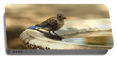Portable Battery Charger featuring the photograph Bluebird Bath Time by Sheila Brown