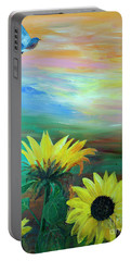Bluebird Flying Over Sunflowers Portable Battery Charger