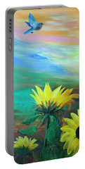 Portable Battery Charger featuring the painting Bluebird Flying Over Sunflowers by Robin Maria Pedrero
