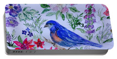 Bluebird In A Garden Portable Battery Charger