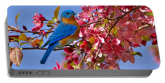 Bluebird In Apple Blossoms Portable Battery Charger