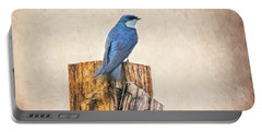 Portable Battery Charger featuring the photograph Bluebird Post by James BO Insogna