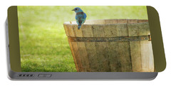 Bluebird Resting On Bucket, Textured Portable Battery Charger