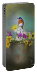 Bluebird With Bucket Of Flowers Portable Battery Charger