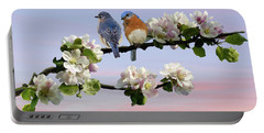 Bluebirds In Apple Tree Portable Battery Charger