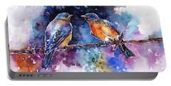 Portable Battery Charger featuring the painting Bluebirds by Zaira Dzhaubaeva