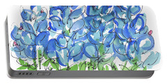 Bluebonnet Dance Watercolor By Kmcelwaine Portable Battery Charger