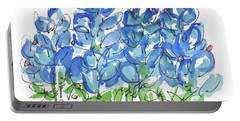 Bluebonnet Dance Whimsey,by Kathleen Mcelwaine Southern Charm Print Watercolor, Painting, Portable Battery Charger