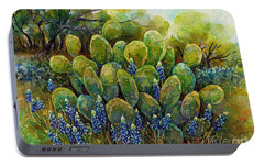 Portable Battery Charger featuring the painting Bluebonnets And Cactus 2 by Hailey E Herrera