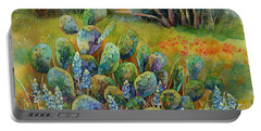 Bluebonnets And Cactus Portable Battery Charger