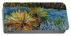 Bluebonnets And Yucca Portable Battery Charger by Hailey E Herrera