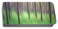 Blurred Aspen Trees Portable Battery Charger