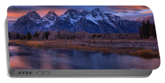 Blurred Snake River Sunset Reflections Portable Battery Charger