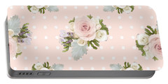 Blush Pink Floral Rose Cluster W Dot Bedding Home Decor Art Portable Battery Charger