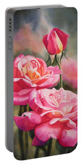 Blushing Roses With Bud Portable Battery Charger