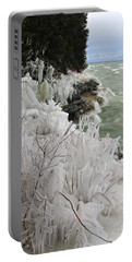 Blustery Lake Michigan Day Portable Battery Charger