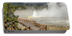Boardwalk Overlooking Spasm Geyser Portable Battery Charger