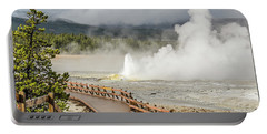 Portable Battery Charger featuring the photograph Boardwalk Overlooking Spasm Geyser by Sue Smith