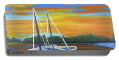 Portable Battery Charger featuring the painting Boat Adrift by Margaret Harmon