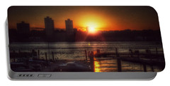 Portable Battery Charger featuring the photograph Boat Basin Gold - Sunset In New York by Miriam Danar