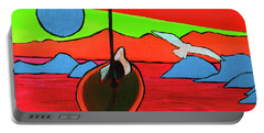 Portable Battery Charger featuring the painting Boat, Bird And Moon by Jeanette French