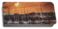 Boat Marina On The Chesapeake Bay At Sunset Portable Battery Charger