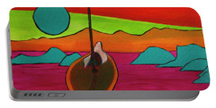 Portable Battery Charger featuring the painting Boat Moonrise by Jeanette French