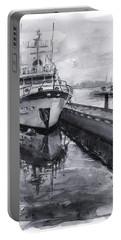 Boat On Waterfront Marina Kirkland Washington Portable Battery Charger by Olga Shvartsur